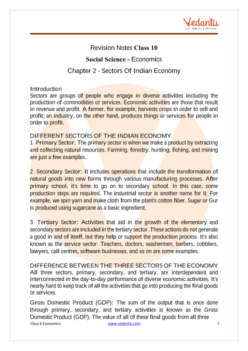 CBSE Class 10 Economics Chapter 2 Notes - Sectors of the Indian Economy part-1