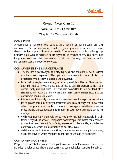 CBSE Class 10 Economics Chapter 5 Notes - Consumer Rights part-1