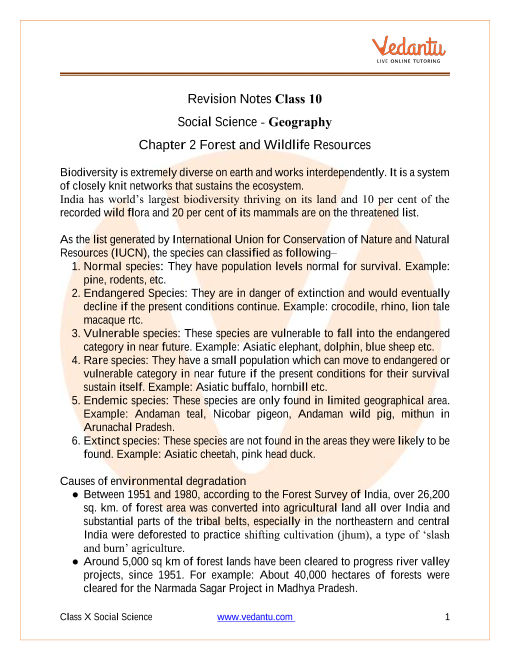 CBSE Class 10 Geography Chapter 2 Notes - Forest and Wildlife Resources part-1