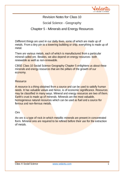Access NCERT solution for Class 10 Geography Chapter 5 - Minerals And Energy Resources part-1