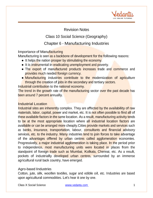 CBSE Class 10 Geography Chapter 6 Notes - Manufacturing Industries part-1