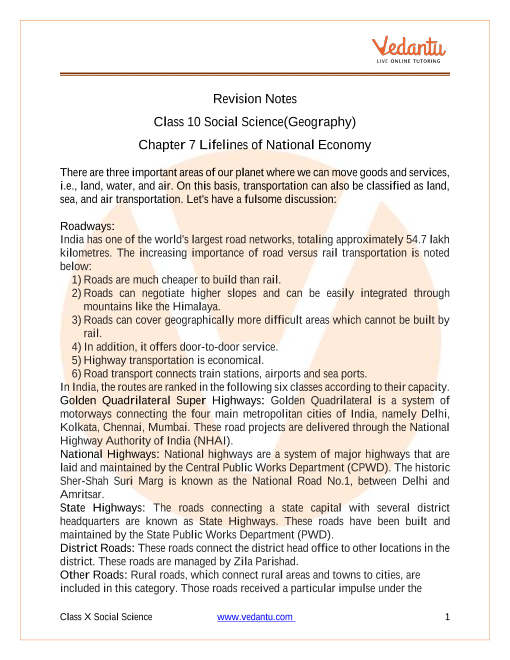 Access Class 10 Social Science (Geography) Chapter 7- Lifelines of National Economy Notes part-1