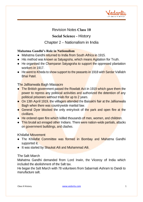 CBSE Class 10 History Chapter 2 Notes - Nationalism in India part-1