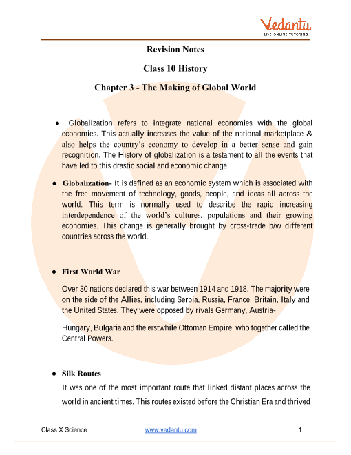 CBSE Class 10 History Chapter 3 Notes - The Making of a Global World part-1