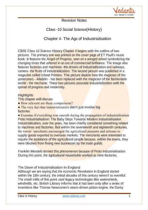 CBSE Class 10 History Chapter 4 Notes - The Age of Industrialisation part-1