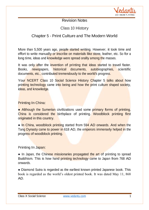 CBSE Class 10 History Chapter 5 Notes - Print Culture and the Modern World part-1
