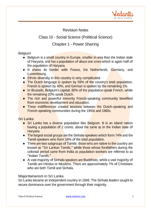 Access Class 10 Social Science (Political Science) Chapter - 1  Power Sharing part-1