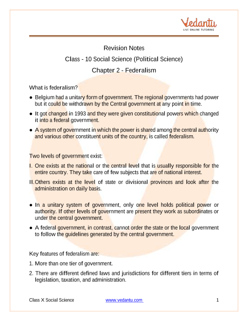 CBSE Class 10 Political Science (Civics) Chapter 2 Notes - Federalism part-1