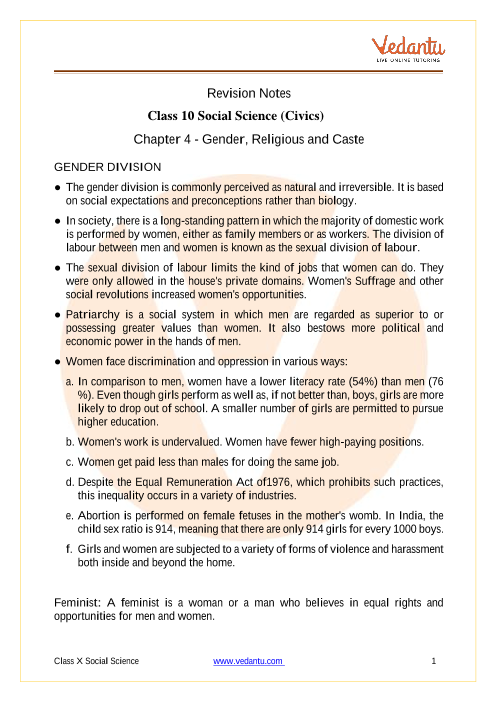 CBSE Class 10 Political Science (Civics) Chapter 4 Notes - Gender, Religion and Caste part-1