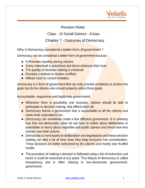CBSE Class 10 Political Science (Civics) Chapter 7 Notes - Outcomes of Democracy part-1
