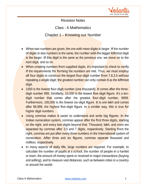 Access Class 6 Mathematics Chapter 1 – Knowing our Number in 30 Minutes part-1