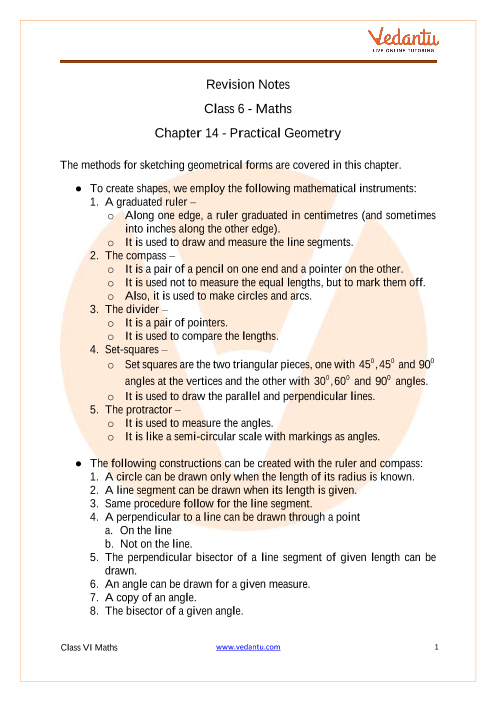 CBSE Class 6 Maths Revision Notes Chapter 14 Practical Geometry part-1