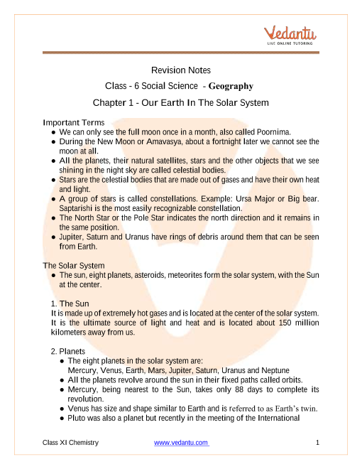 CBSE Class 6 Geography Chapter 1 Notes - The Earth in the Solar System part-1
