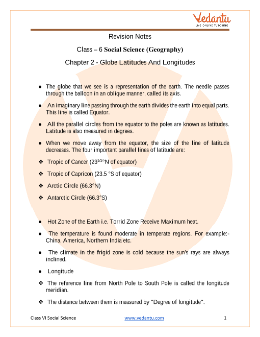 CBSE Class 6 Geography Chapter 2 Notes - Globe Latitudes and Longitudes part-1