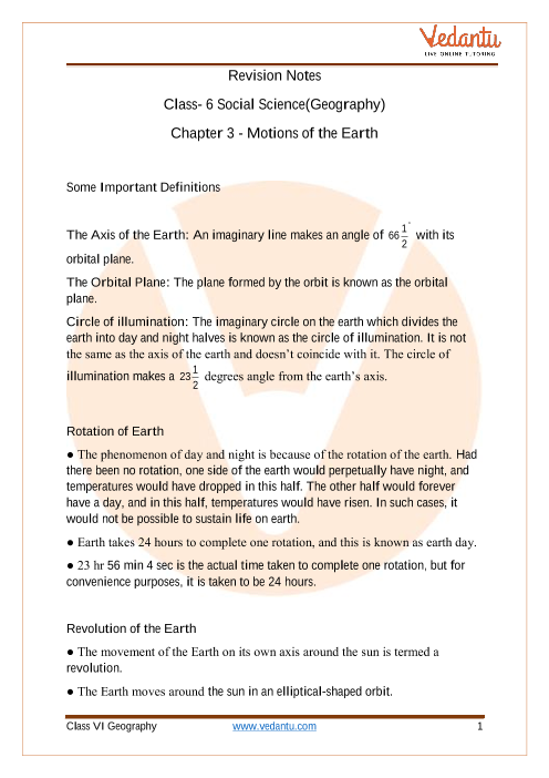 CBSE Class 6 Geography Chapter 3 Notes - Motions of the Earth part-1