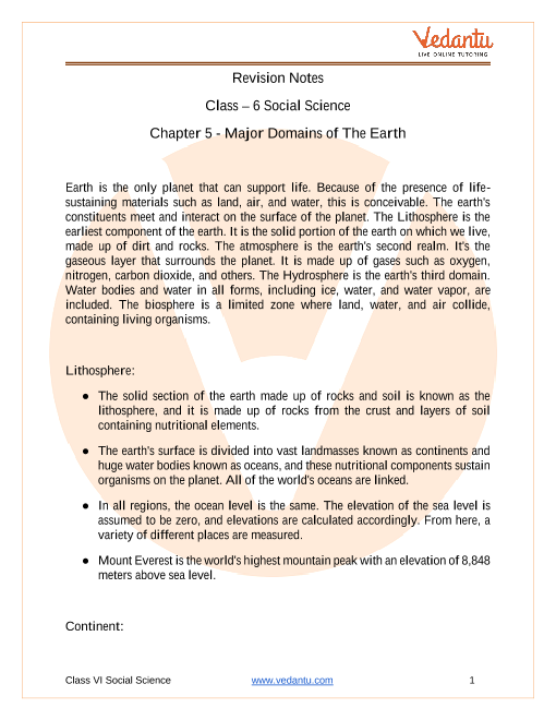 Access Class 6 Social Science Chapter 5 – Major Domains Of The Earth Notes in 30 Minutes part-1