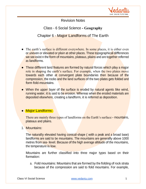 CBSE Class 6 Geography Chapter 6 Notes - Major Landforms of the Earth part-1