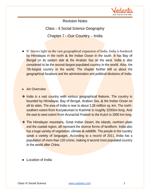 CBSE Class 6 Geography Chapter 7 Notes - Our Country - India part-1