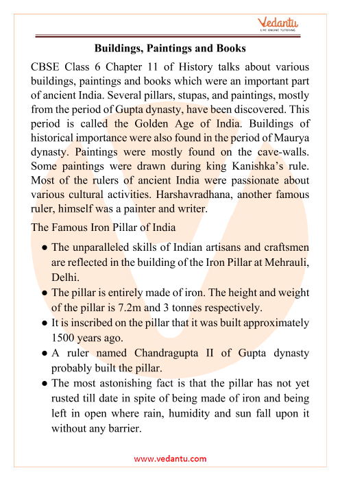 CBSE Class 6 History Chapter 11 Notes - Building, Paintings and Books part-1