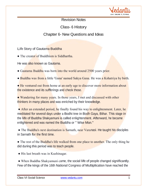 CBSE Class 6 History Chapter 6 Notes - New Questions and Ideas part-1