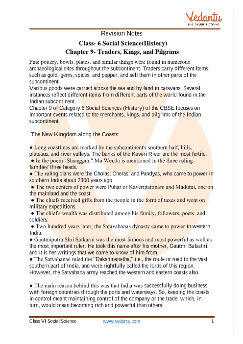 CBSE Class 6 History Chapter 9 Notes - Traders, Kings and Pilgrims part-1