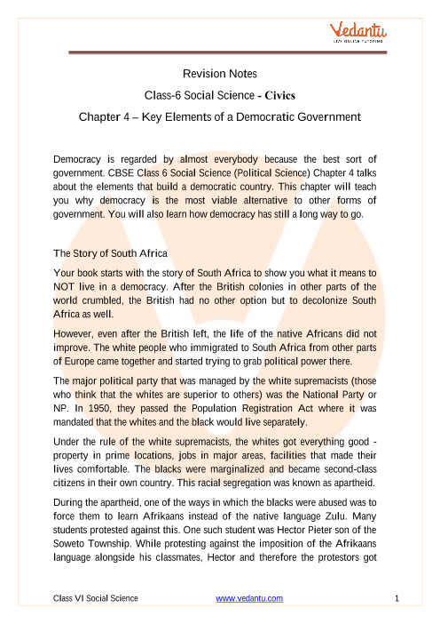 CBSE Class 6 Political Science (Civics) Chapter 4 Notes - Key Elements of A Democratic Government part-1