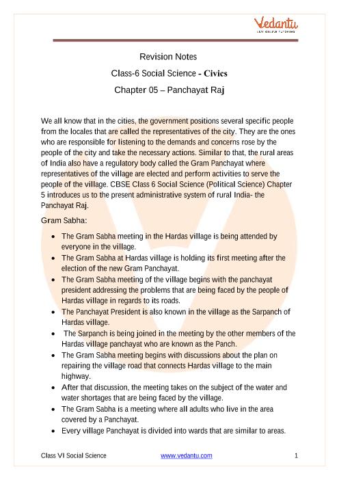 CBSE Class 6 Political Science (Civics) Chapter 5 Notes - Panchayat Raj part-1
