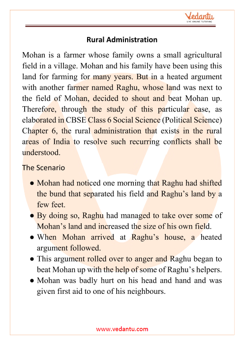 CBSE Class 6 Political Science (Civics) Chapter 6 Notes - Rural Administration part-1
