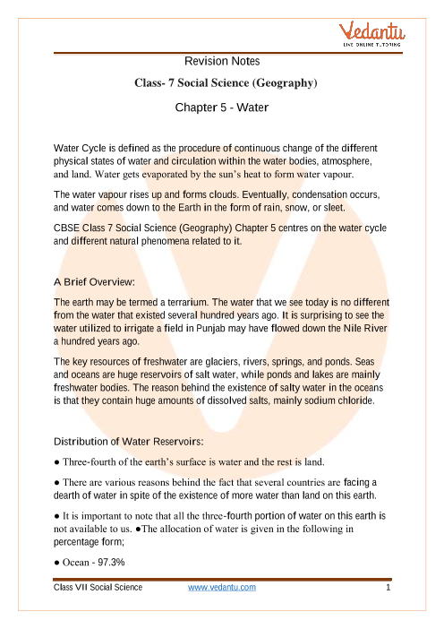 CBSE Class 7 Geography Chapter 5 Notes - Water part-1