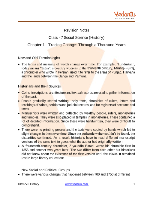 CBSE Class 7 History Chapter 1 Notes - Tracing Changes Through a Thousand Years part-1