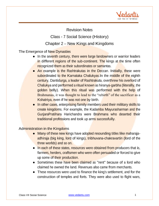 Access Class 7 Social Science (History) Chapter 2 – New Kings and Kingdoms part-1