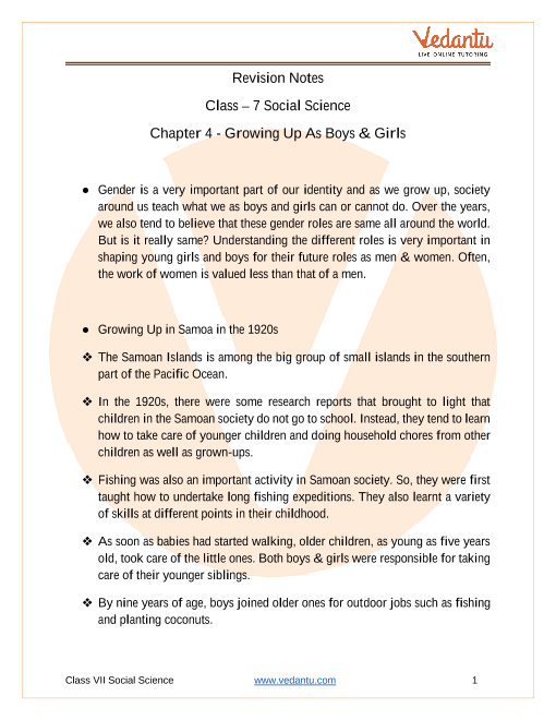 Access Class 7 Social Science Chapter 4 - Growing Up As Boys & Girls Notes in 30 Minutes part-1