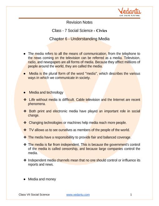 CBSE Class 7 Political Science (Civics) Chapter 6 Notes - Understanding Media part-1