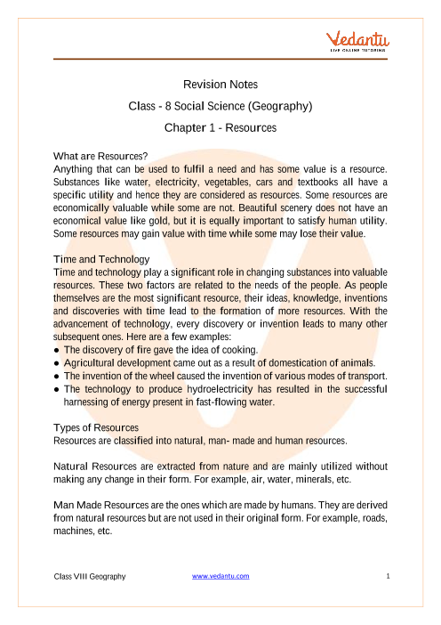 CBSE Class 8 Geography Chapter 1 Notes - Resources part-1