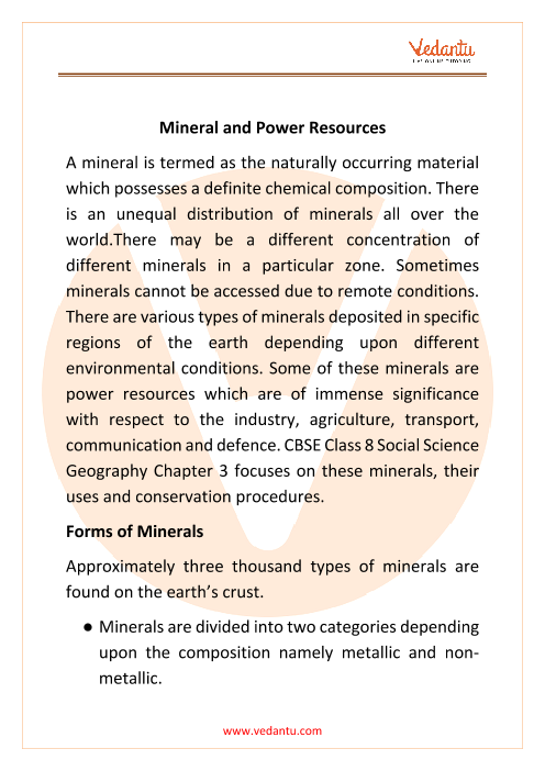 CBSE Class 8 Geography Chapter 3 Notes - Mineral and Power Resources part-1