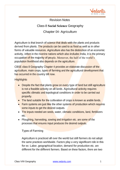 CBSE Class 8 Geography Chapter 4 Notes - Agriculture part-1