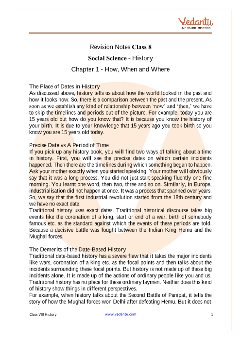 CBSE Class 8 History Chapter 1 Notes - How, When and Where part-1
