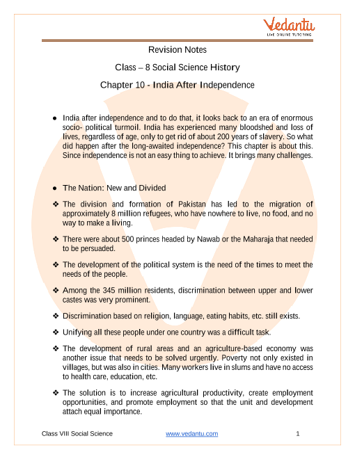 CBSE Class 8 History Chapter 10 Notes - India After Independence part-1