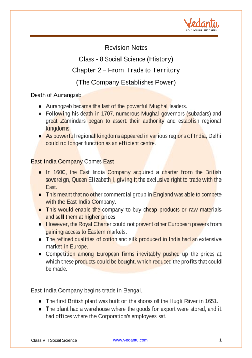 Access Class 8 Social Science (History) Chapter 2 – From Trade to Territory (The Company Establishes Power) part-1