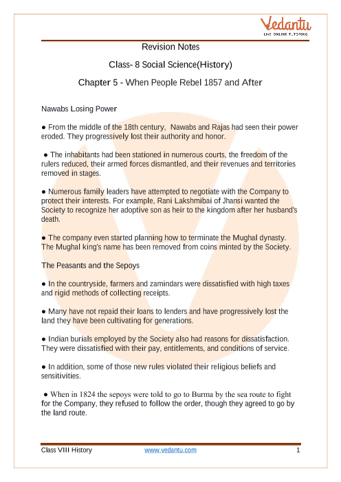 Access Class 8 Social Science(History) Chapter 5 - When People Rebel 1857 and After Notes part-1