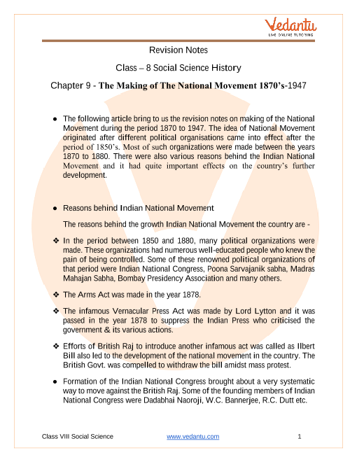 CBSE Class 8 History Chapter 9 Notes - The Making of the National Movement 1870s-1947 part-1