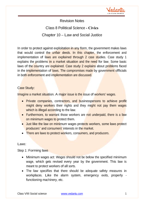 CBSE Class 8 Political Science (Civics) Chapter 10 Notes - Law and Social Justice part-1
