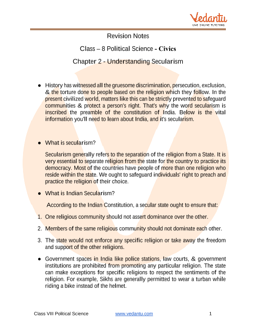 CBSE Class 8 Political Science (Civics) Chapter 2 Notes - Understanding Secularism part-1