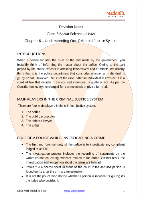 CBSE Class 8 Political Science (Civics) Chapter 6 Notes - Understanding Our Criminal Justice System part-1