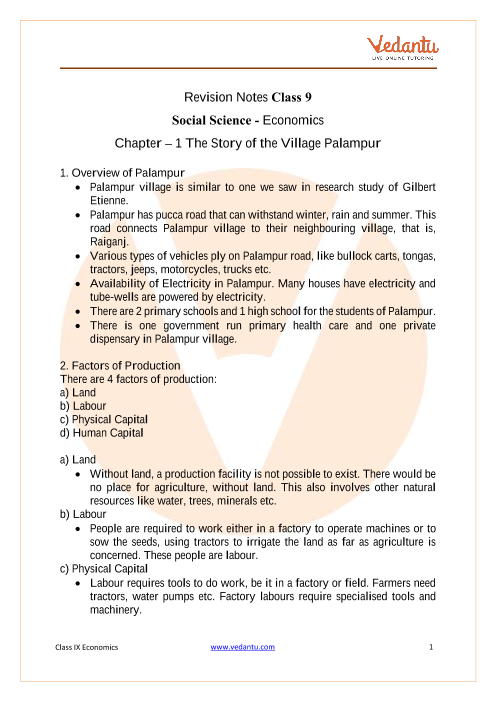 CBSE Class 9 Economics Chapter 1 Notes - The Story of Village Palampur part-1