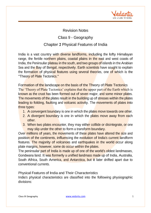 CBSE Class 9 Geography Chapter 2 Notes - Physical Features of India part-1