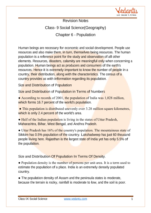 CBSE Class 9 Geography Chapter 6 Notes - Population part-1