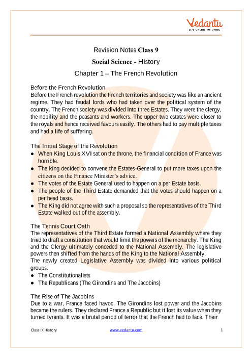 CBSE Class 9 History Chapter 1 Notes - The French Revolution part-1