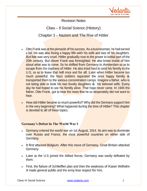 CBSE Class 9 History Chapter 3 Notes - Nazism and the Rise of Hitler part-1