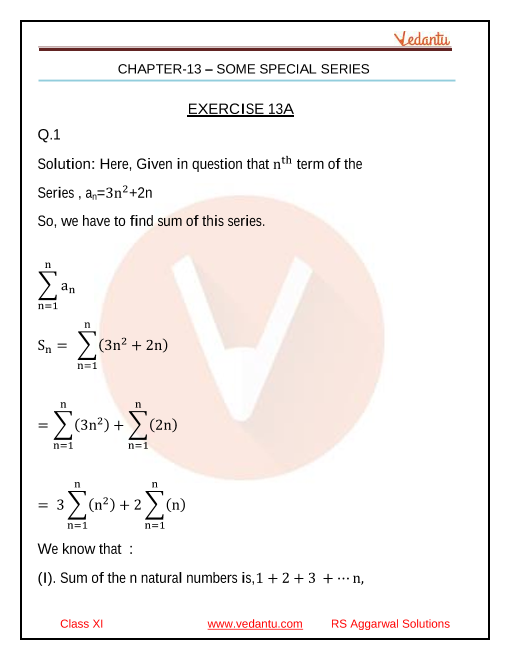 Class _11_RS Aggarwal _chapter _13 SOME_SPECIAL_ SERIES_Solutions part-1